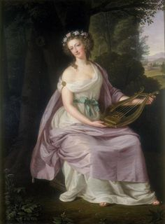 """Queen Marie Antoinette as Erato by Guttenbrunn  In Greek mythology, Erato is one of the Greek Muses. The name would mean """"desired"""" or """"lovely"""", if derived from the same root as Eros, as Apollonius of Rhodes playfully suggested in the invocation to Erato that begins Book III of his Argonautica.  Erato is the Muse of lyric poetry, especially romantic and erotic poetry. In the Orphic hymn to the Muses, it is Erato who charms the sight."""