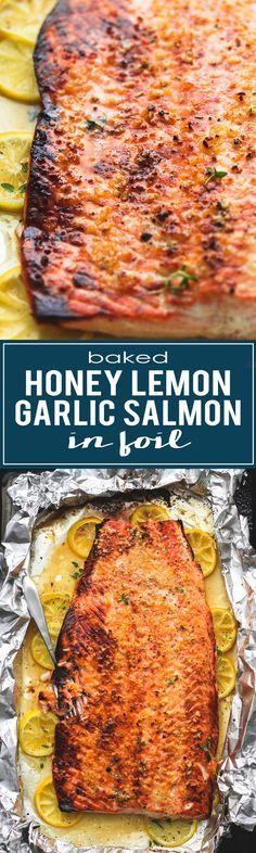Easy and healthy Baked Honey Lemon Garlic Salmon in Foil | lecremedelacrumb.com