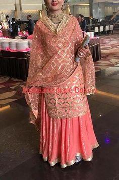 Bollywood dress - Custom made lehengas Inquiries➡️ nivetasfashion com whatsapp Direct from INDIA Nivetas Design Studio We ship worldwide 🌎 At very reasonable Prices lehengas punjabi suit Sharara Designs, Choli Designs, Indian Attire, Indian Outfits, Indian Clothes, Party Wear Indian Dresses, Pakistani Dresses, Embroidery Suits Design, Embroidery Designs