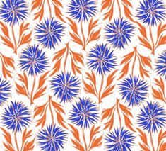 Orange and blue flowers. Interview with Anna Hayman, textile and pattern designer - Nina's Apartment Blog