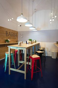 BARBA Restaurant on Behance bar stools, restaurant design, restaurant inspiration, food spaces Design Bar Restaurant, Deco Restaurant, Coffee Shop Bar, Coffee Shop Design, Bar Design, Stand Design, Architecture Restaurant, Cafe Interior Design, Interior Logo