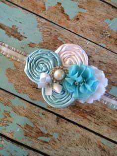 FLOWER GIRL headband , infant toddler headband , baby blue ,photo prop , baptism , christening , flower-girl,bride
