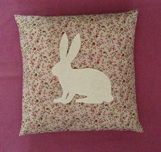 Shape Mr Hare - Beige, Pink Floral & Cream Applique Rabbit Silhouette Cushion Cover Modern