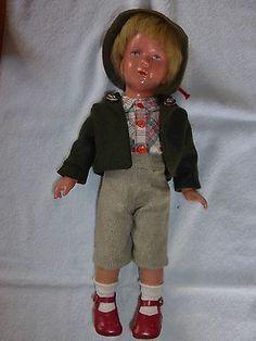 Kaethe-Kruse-Schildkroet-Puppe-Junge-T40-mit-echte-Haare