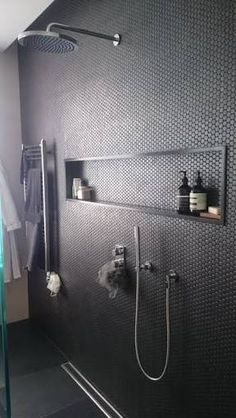 Image result for subway tile gray grout with stone shampoo niche ledge