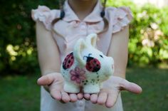 Needle felted cute little pig with ladybugs by HelenDream