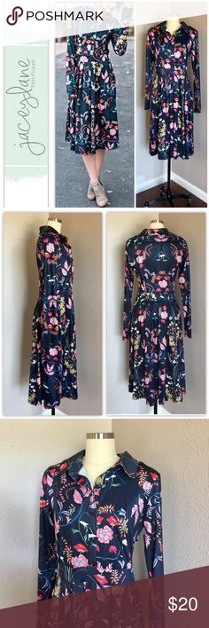 """jaceylane Midi Floral Dress 👗 The most comfortable fabric with a fun floral design over navy blue. Side zip. Long sleeves.  Excellent condition no flaws  Length: 42"""". Bust: 18"""". Waist: 15"""" jacylane boutique Dresses Midi"""