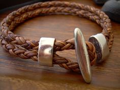 Natural Antique Brown Braided Mens Leather Bracelet with Rhodium Plate Toggle Clasp
