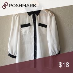 Limited blouse Cream with black trim sheer blouse. Very good condition The Limited Tops Button Down Shirts