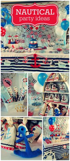 A nautical themed boy birthday party in blue, white and red with seaside treats and decorations! Boy Birthday Parties, Baby Birthday, Birthday Ideas, Baby Shower Themes, Baby Boy Shower, Sailor Party, Party Fiesta, Nautical Party, Baby Party