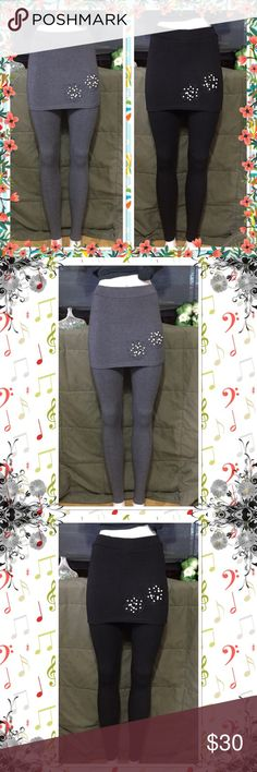 Winter pearl skirt-leggings Beautiful Stylish skirt leggings with lace flower pearl on bottom of skirt two colors to choose from Black or Gray very stretchy thick enough for your winter one size fits most Material cotton and spandex NWT Pants Leggings