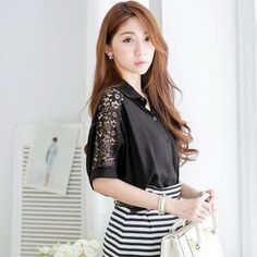 Buy 'Tokyo Fashion – Short-Sleeve Lace-Panel Blouse' with Free International Shipping at YesStyle.com. Browse and shop for thousands of Asian fashion items from Taiwan and more!