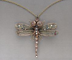 Dragonfly Necklace Copper Jewelry Wire Wrapped by LizaKusilova
