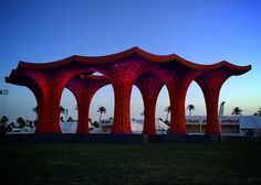 Pavilion for Coachella music festival made from paper pulp