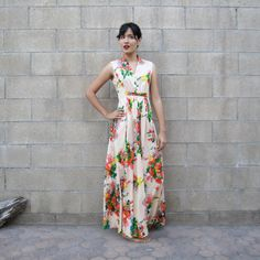 vintage floral maxi dress/ 70s colorful summer by MILKTEETHS, $52.00