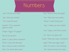 Essential Italian Vocabulary Words for Beginners: Numbers http://takelessons.com/blog/italian-vocabulary-z09?utm_source=social&utm_medium=blog&utm_campaign=pinterest