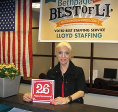Joanne Cossentino celebrates #26!  She has put thousands of people to work since she started at LLoyd in 1988!