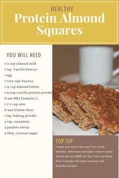 Healthy Recipes For Protein Almond Squares - Michelle Marie Fit Vegan Christmas, Christmas Recipes, Almond Bars, Vanilla Protein Powder, How To Eat Paleo, Breakfast Ideas, Paleo Recipes, Squares, Healthy Snacks