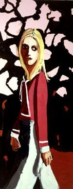 """Chantal Joffe """"Woman With Flowers"""" 2004.  Show coming up at Cheim & Read 4 May"""