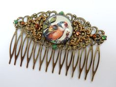 Big hair comb in bronze with birds, animal hair comb, flower hair comb, squiggly hair comb, antique hair jewelry, baroque hair comb