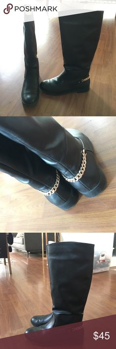 Black Zara Riding Boots with Chain These are one of my favorite boots! so hard to find, and very rare... They are a little too big for me. I wore really big socks with them in London & wore them 3 or 4 times. Back in California it's just never cold enough for thermal socks :( they need a good home! EU 41 Zara Shoes Over the Knee Boots