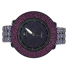 Techno Pave Purple Pink 3 Row Style Custom Bling Iced Out Steel Back Watch Sale