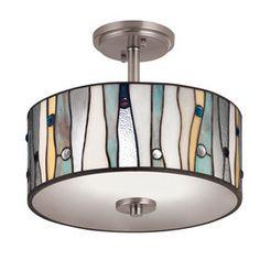 Portfolio�13-in W Brushed Nickel Clear Glass Tiffany-Style Semi-Flush Mount Light