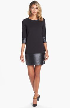 Knit & Faux Leather Drop Waist Shift Dress