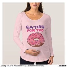 Eating for Two Pink Frosted Donut Baby Maternity T