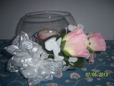 Bridal Floral Wedding Reception Table Glass Fishbowl Style Candle Centerpiece