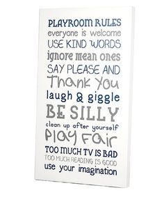 Take a look at this White & Blue 'Playroom Rules' Wall Art by Twelve Timbers on #zulily today!