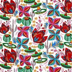 Cinco de Mayo Flores De Cactus Drawings Flowers White Cotton Fabric