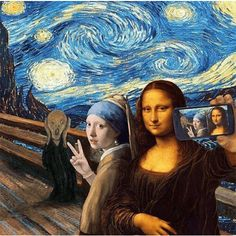 street art - Olivia Muus, 1985 Museum of Selfies Art Memes, Memes Arte, Art Quotes Funny, Funny Art, Appropriation Art, Leonardo Paintings, Arte Dope, Mona Lisa Parody, Funny Paintings