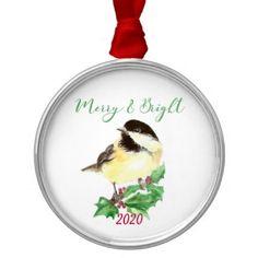 Chickadee Bird Holly Christmas Merry & Bright Metal Ornament - merry christmas diy xmas present gift idea family holidays