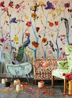 wall + chair + color  Love love love clashing florals! Especially in an interior setting