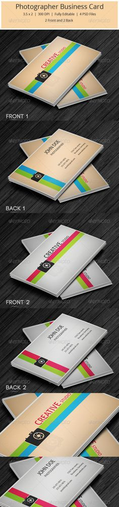Photographer Business Card #GraphicRiver Photographer Business Card An Unique, colorful and creative Photographer Business Card to attract Customers.Easily Editable and highly layered for easy understanding. Features Fully Layered PSD Files Customizable And Editable 3.5×2.0 (3.75×2.25 With Bleed Setting ) 300 DPI High Resolution CMYK Color Mode Print Ready Fonts Used Aller Myriad Pro : Windows Default [ free front ] File Include 4 PSD Files 1 Read me File Created: 22October13 GraphicsFilesIncluded: PhotoshopPSD Layered: Yes MinimumAdobeCSVersion: CS2 PrintDimensions: 3.5x2 Tags: best #bigsale #blue #bokeh #businesscard #camera #card #clean #color #colorful #corporatebusinesscard #creative #creativestudio #designer #green #lens #manager #modern #photographer #professional #rated #red #simple