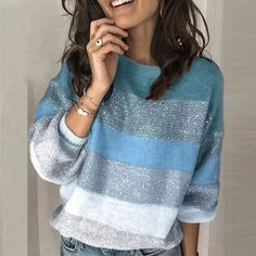 Best Chance for Loose Casual Knit Sweater Women Winter 2019 Female Pullover Pullovers Long Sleeve Striped Knitted Sweaters Chance Descriptio. Pullover Mode, Pullover Sweaters, Knit Sweaters, Women's Sweaters, Sweatshirt, Casual Sweaters, Sweaters For Women, Pull Crochet, Vogue Knitting