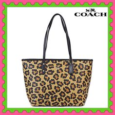"Authentic Coach Ocelot Tote Bag % AUTHENTIC ✨ Beautiful ocelot tote bag from Coach Lightweight & very spacious ✨ Length 16"" Height 10"" Width 5 1/2"" Strap drop 10"" 3 pockets inside✨ Zipper top closure  Yellow gold tone hardware  NO TRADE Coach Bags Totes"