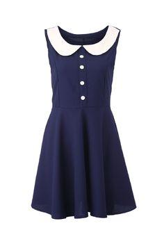 Block Peter Pan Collar Sleeveless Dress. ROMWE
