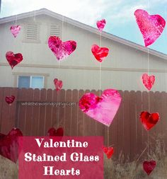 While He Was Napping: Vertical 'Stained Glass' Heart Garlands