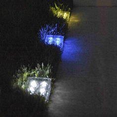 Solar Brick – The Solar Clear Glass Brick Paver Light with 4 LEDs
