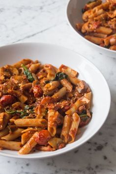 The sautéed garlic, chill, paprika and miso adds a beautiful flavour to the sautéed tomatoes, mushrooms and spinach, which then perfectly coats the pasta in deliciousness.