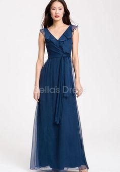 Dazzeling Natural Waist Floor Length V Neck A line Prom Evening Dress