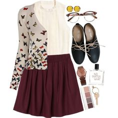 Love this outfit! Except I would wear a different cardigan and no glasses.