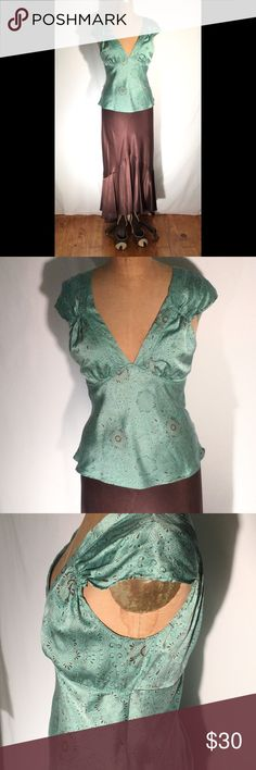 Silk charmuese cami of vintage lingerie design New York & Company teal with chocolate pattern silk charmeuse camisole. This is a retrospective design like a Victorian undergarment. Deep V-neck & back with ruching on front shoulder, tiny eyelet-like design at borders. Very delicate, super feminine. Bias cut, pull-on, unlined. Size Medium. PM495 New York & Company Tops Camisoles