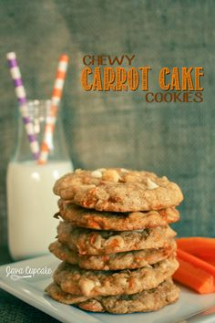 Chewy Carrot Cake Cookies Add one more cup of flour I used carrot pulp from juicing Yum Cookie Desserts, Cookie Recipes, Dessert Recipes, Brownie Recipes, Carrot Cake Cookies, Carrot Cake Roll Recipe, Delicious Desserts, Yummy Food, Tasty