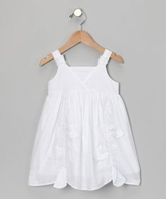 Take a look at this White Leaf Scalloped Dress - Toddler & Girls by Petit Confection on #zulily today!