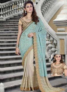 Sky Blue Beige Embroidery Work Silk Chiffon Designer Print Wedding Half Sarees http://www.angelnx.com/bestseller