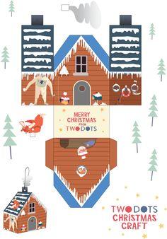free printable paper christmas house little houses. Black Bedroom Furniture Sets. Home Design Ideas