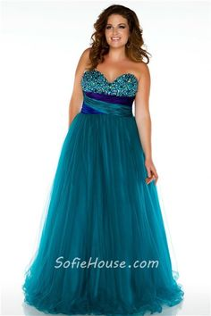 Royal A Line Strapless Empire Waist Long Purple Tulle Beaded Plus Size Prom Dress